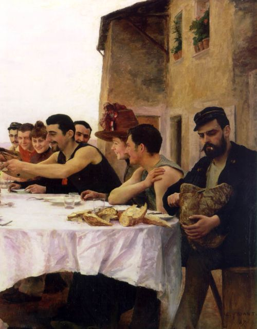 hideback:  Emile Friant (French, 1863-1932) Reunion of the Meurthe Boating Party, 1887 (detail) Les Canotiers de la Meurthe (full painting) ...