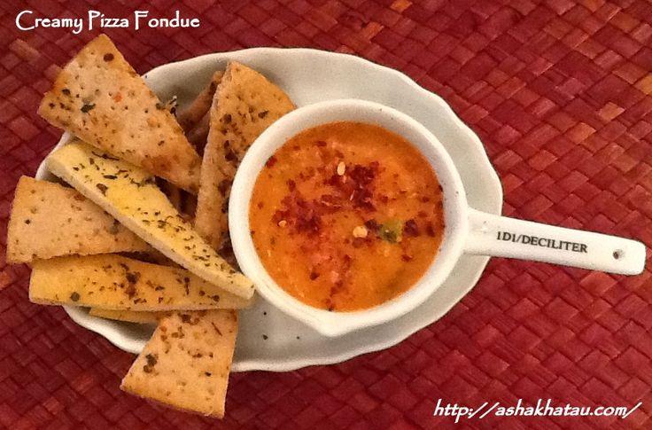 Creamy Pizza Fondue #Epicure #AshaKhatau #Starters #Salads