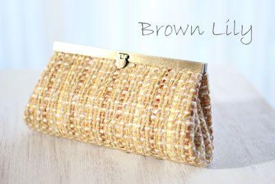 文鎮金具の縫わないポーチ Brown Lily 2nd Season