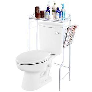Bathroom-Storage-Shelf-Over-Toilet-Space-Saver-Organizer-White-Magazine-Rack-New