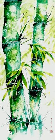 Bamboo forest 竹 林 深 处0152 Watercolor by sia.yekchung 谢一春,