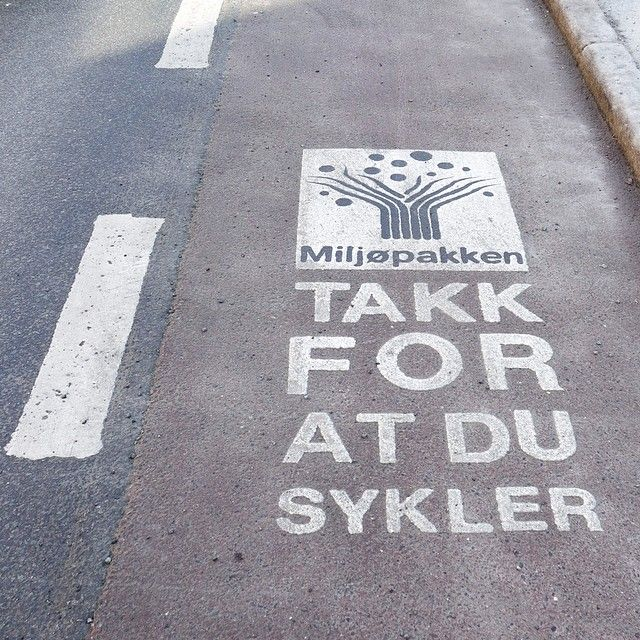 """Thank you for biking"" - signs at bike lanes in Trondheim, Norway"