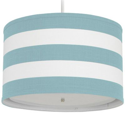 Oilo Pendant Lighting Striped Aqua Cylinder