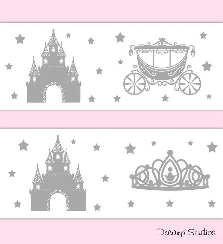 PRINCESS ROOM DECOR Baby Girl Gray Wallpaper Border Wall