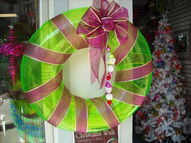 This unusual wreath greets you as you enter Julieanne's Coastal Cottage..... It's made from a swimmer's ring, dressed with ribbon.
