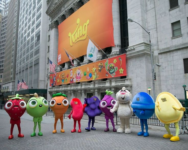 P+ mascots represent King at the launch of the company's IPO on March 26, 2014 at the New York Stock Exchange