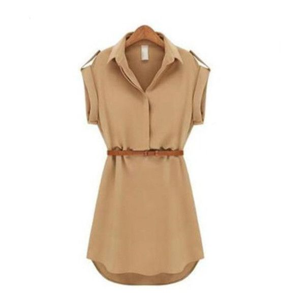 Women's Womens Fashionable Cap Sleeve Stretch Chiffon Casual Dress (28 PEN) ❤ liked on Polyvore featuring dresses, khaki, cap sleeve chiffon dress, beige dress, chiffon dress, stretch dresses and stretchy dresses