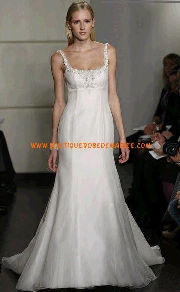 Robe de mariée sirène blanche avec bretelles applique de dentelle