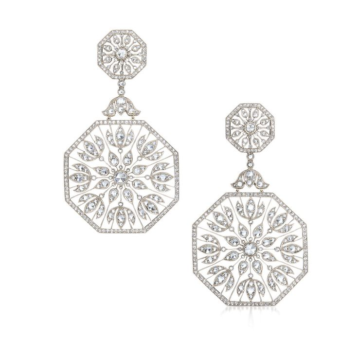 Large plume diamond earrings from the Kwiat Vintage Collection in 18K white gold by Kwiat.
