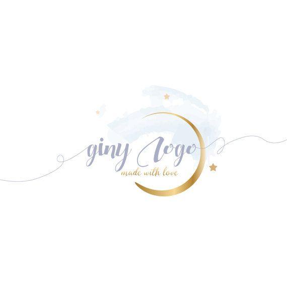 Logo design lune et étoiles logo personnalisé or la par HappyLogo