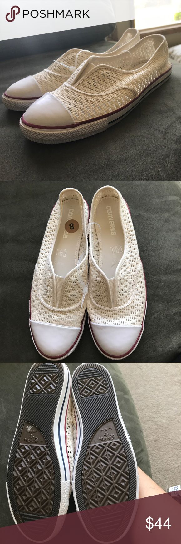 NWT Converse slip ons. Size 8. NWT Converse slip ons. Size 8. Super cute for forth of July! Comfy elastic top! Converse Shoes Sneakers