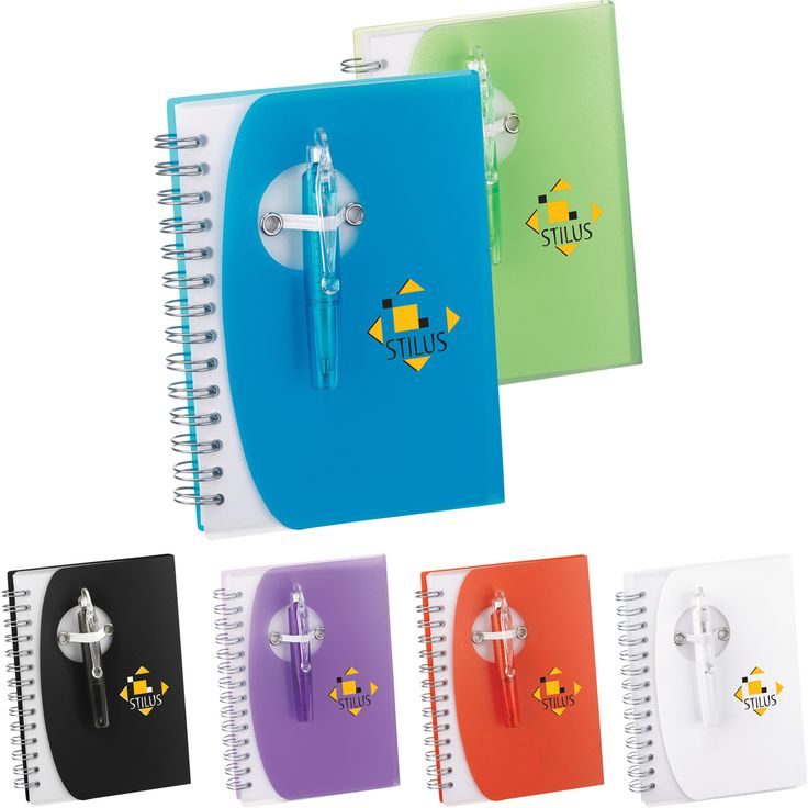 Junior-sized notebook features fold-over polypro cover and elastic pen loop closure. Includes 80 unruled pages and matching color folding mini ballpoint pen. Pen imprint not available. Pens packed separately.
