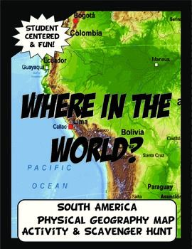 This geography activity is completely student driven, fun and interactive. It can be done with any textbook map or atlas that has the physical geography of South America. A map of South America is included if this resource is not available. First, students create a physical map of South America labeling key features.