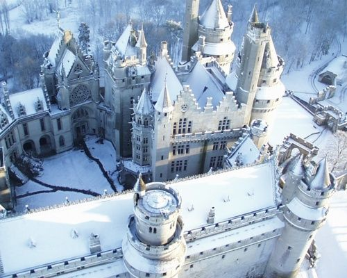Snow Castle, Pierrefonds, France. I think this is where the Ice Queen