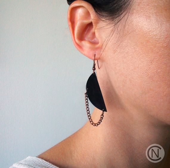 Earrings with black shrink plastic and bronze chain/ by NinaCamisi