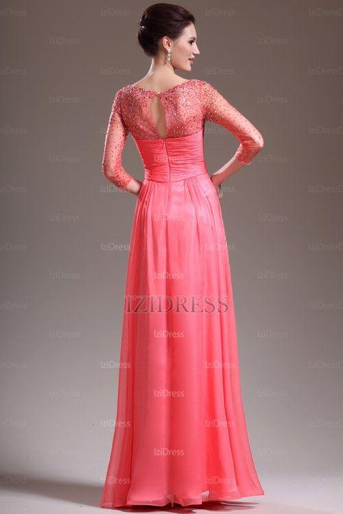 A-Line/Princess Bateau Floor-length Chiffon Prom Dresses - IZIDRESSES.com at IZIDRESSES.com