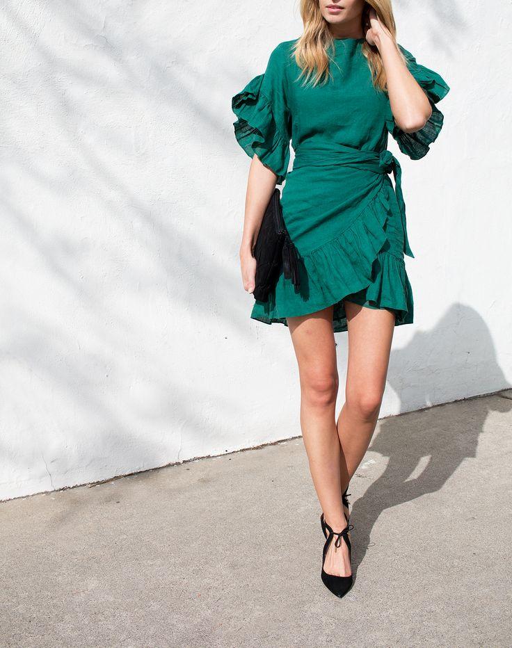 Isabel Marant | green ruffled tie-waist dress