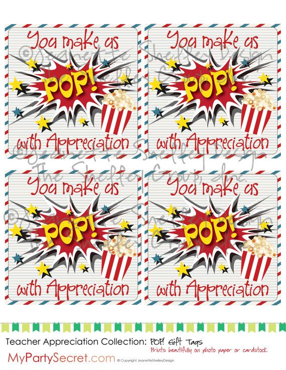 instant download... DIY Printable Teacher Appreciation Popcorn Gift Tags on Etsy, $5.00