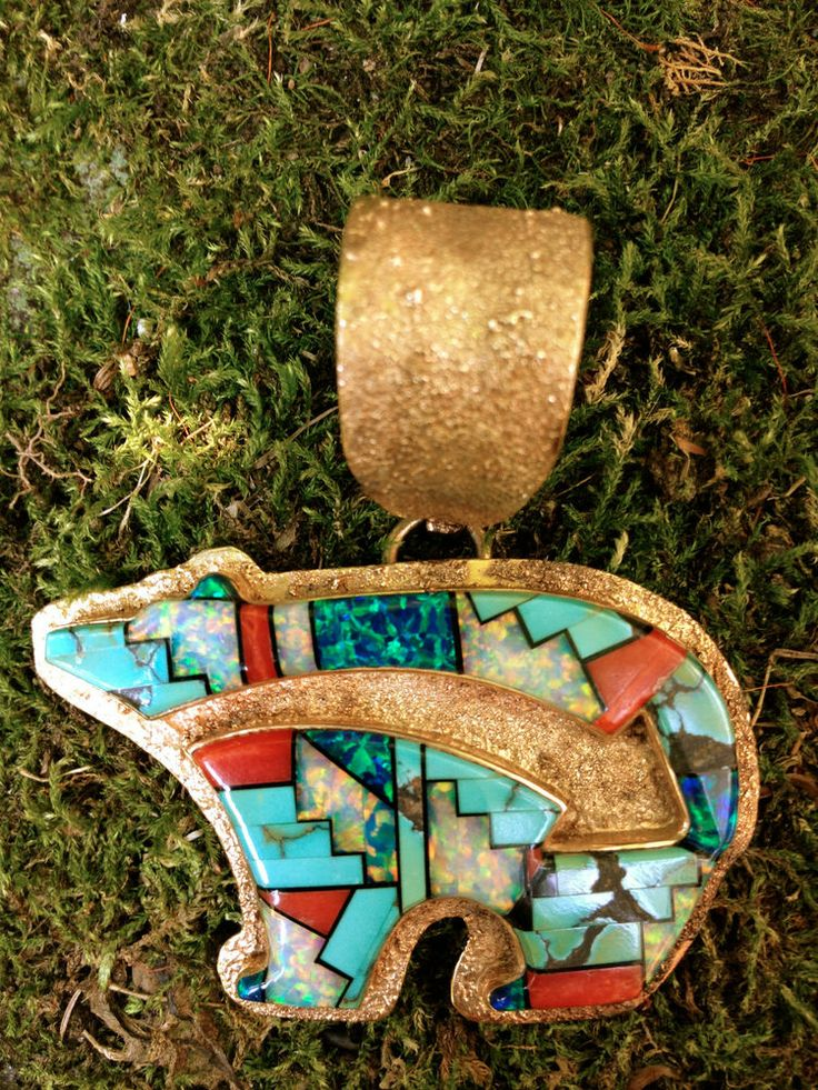 35 best zuni bear fetish images on pinterest bear bears and vintage zuni inlay 14k gold bear pendant handmade wilson manning extremely fine mozeypictures Choice Image