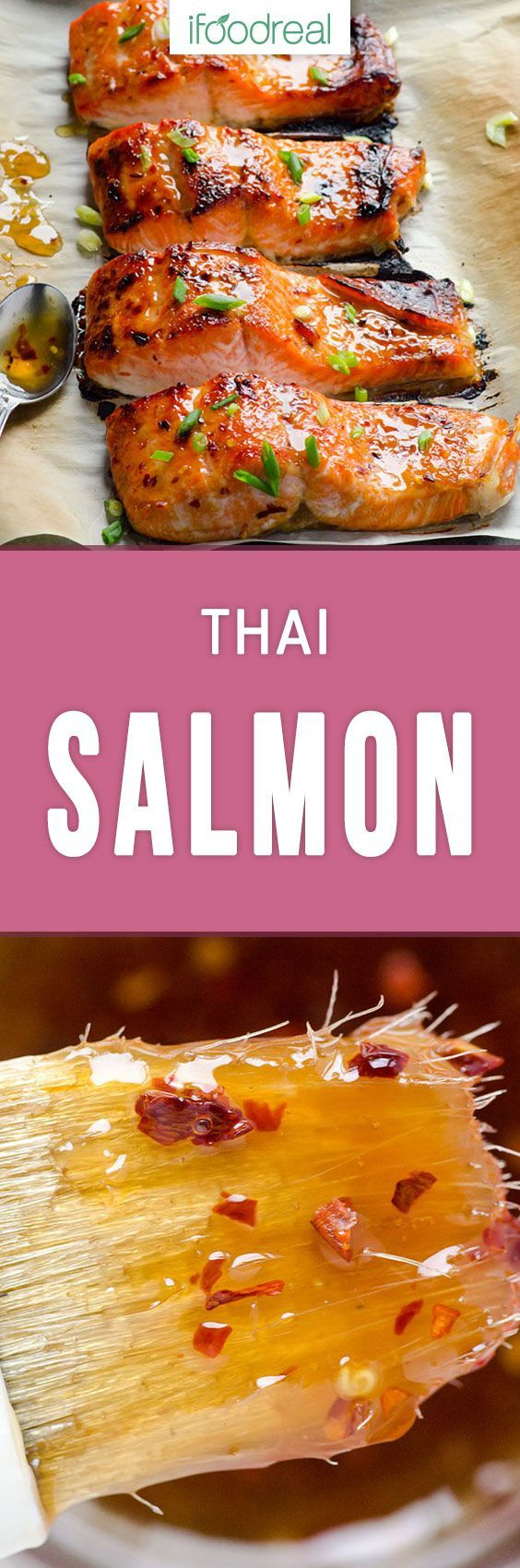 Thai Baked Salmon Recipe made with 3 ingredients in 15 minutes, can be grilled or oven baked. Out of this world Thai sweet chili salmon with rave reader reviews! #ifoodreal #salmon #healthyfood #healthyrecipes