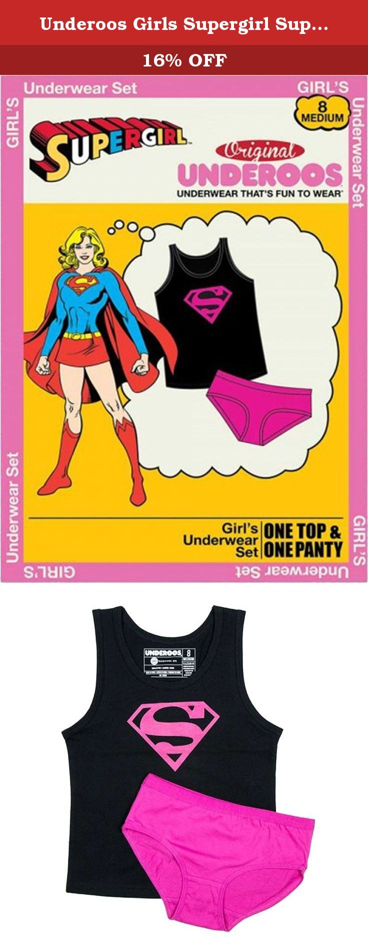 Underoos Girls Supergirl Superman Underwear Tank Set, Extra Small 4, Multi. Officially Licensed Supergirl Girls Underoos Underwear Set. This underwear set is made of 100% pre-shrunk cotton.