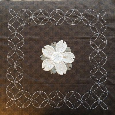 Sashiko around applique flower