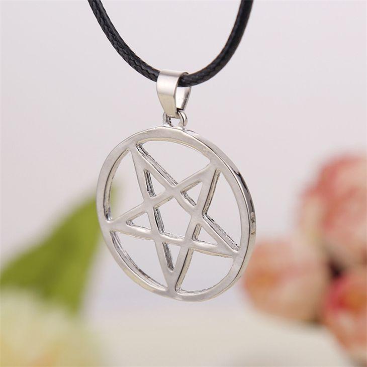 Black Butler necklace Pentacle pentagram pendant Lucifer Satan logo sign silver Supernatural jewelry for men and women wholesale