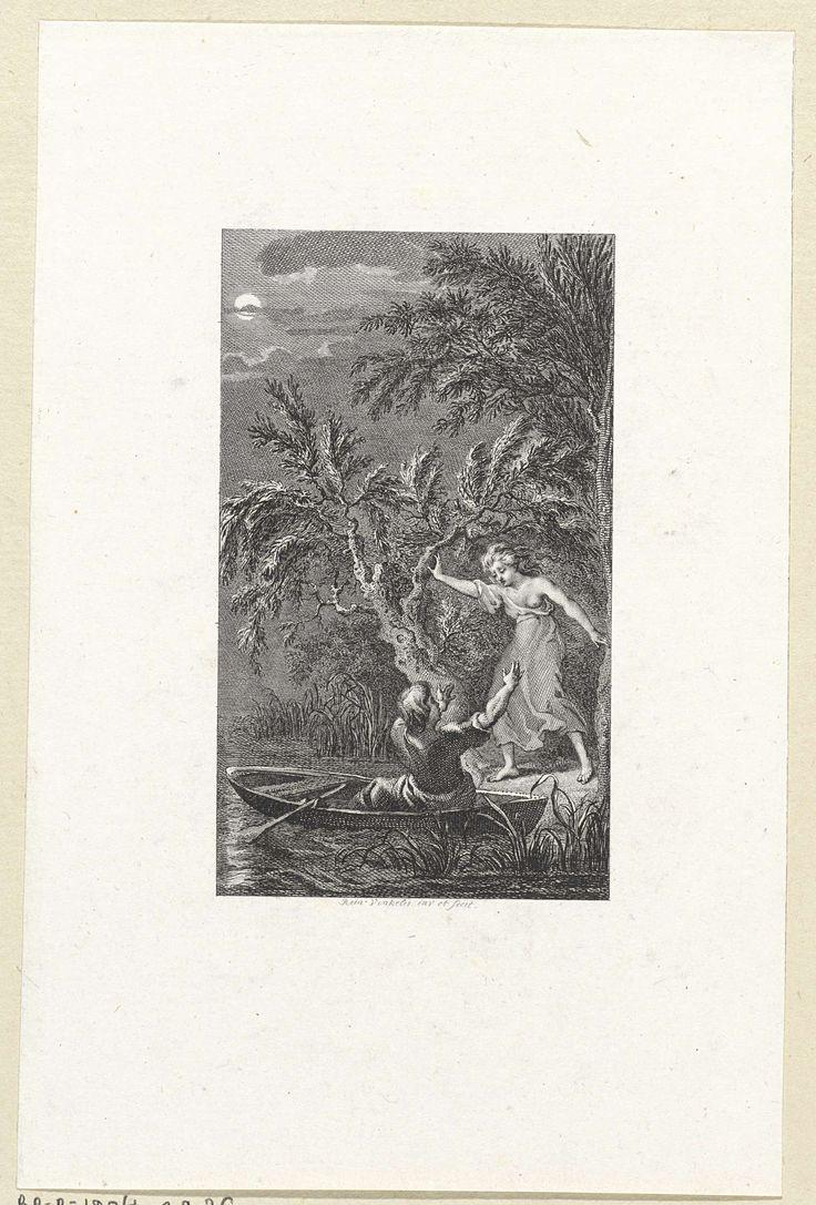 Nachtgezicht met Paulus en Virginia, Reinier Vinkeles, 1751 - 1816