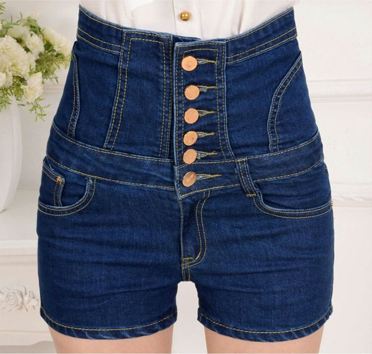 2015 Summer Style High Waisted Denim Shorts Femme Slim Korean Casual Button Bandage Retro Short Women Jeans Pantalon Corto Mujer