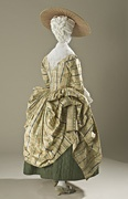 LACMA  France  Woman's Robe à la Polonaise (Close-bodied Gown), circa 1775  Costume/clothing principle attire/entire body, Silk plain weave with supplementary warp- and weft-float patterning, Center back length: 54 1/4 in. (137.795 cm)  Gift of Mrs. Derek A. Colls in memory of Mrs. Joanna Christie Crawford (M.70.85)