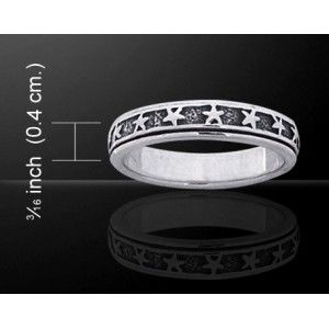 Star Sterling Silver Spinner Ring - New at GothicPlus.com Price: $56.00  The inner ring of this pretty band ring spins freely while the outside remains in place. It is 3/16 inch high and makes a great wedding or fashion ring.  Hand crafted sterling silver - please allow about 3 weeks for delivery.  #gothic #fashion #steampunk