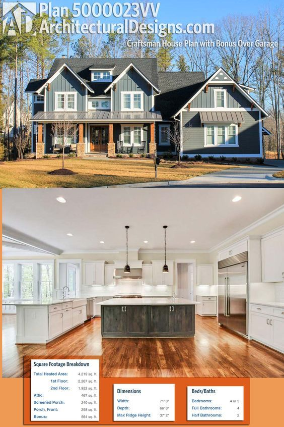 Craftsman House Design Features: Dream Home. Architectural Designs Exclusive House Plan
