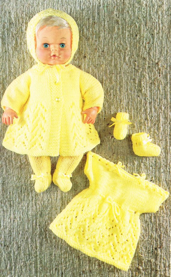 """Dolls clothes knitting pattern for 12"""" & 16"""" doll. Baby ..."""