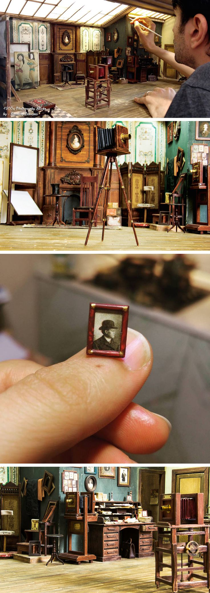 Designer dioramas miniature rooms - An Historically Accurate 19th Century Photo Studio Built In 1 12 Scale