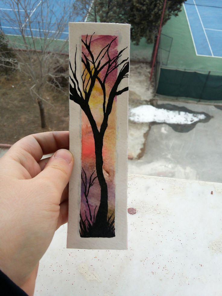 watercolor landscape bookmark