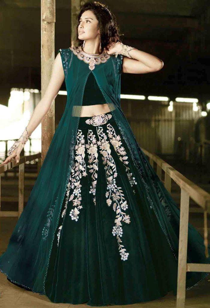 Green Velvet,Net Palazzo Salwar Kameez With Embroidery Work 37205