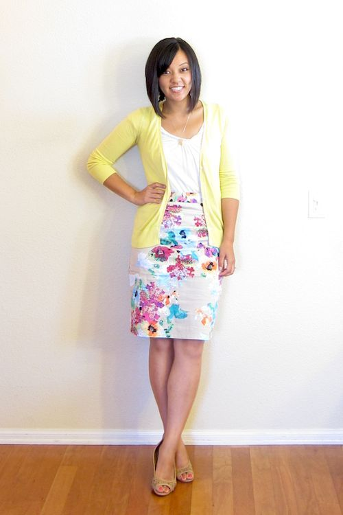 Would never wear a skirt to work, but I love the fun cardigan and skirt print!
