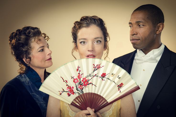 Stacy Ross (Mrs. Erlynne), Emily Kitchens (Lady Windermere), and Aldo Billingslea (Lord Windermere) in Cal Shakes' production of Lady Windermere's Fan by Oscar Wilde, directed by Christopher Liam Moore; photo by Kevin Berne.