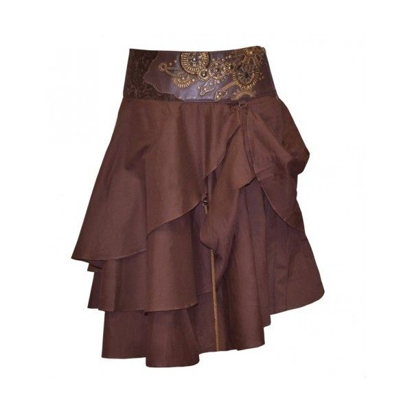 Brown Steampunk Skirt with Intricate Gold Detail ($21) ❤ liked on Polyvore featuring skirts, steampunk, bottoms, medieval, steampunk skirt, brown knee length skirt, steam punk skirt and brown skirt