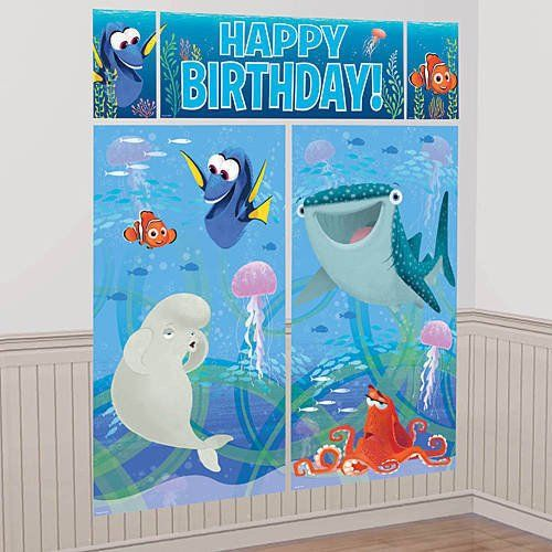 1 Wall Scene Setter A Finding Dory Scene Setter takes your party room down under. This lightweight vinyl backdrop features an underwater scene with Nemo, Hank,