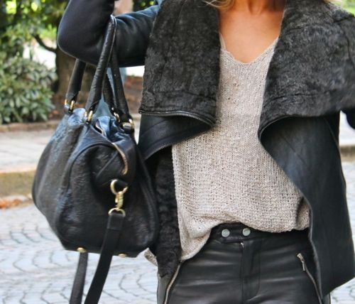 I like the gray t with black jeans and love the shearling lined leather jacket.