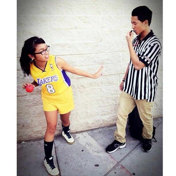 Basketball Player and Ref: Halloween costume party.