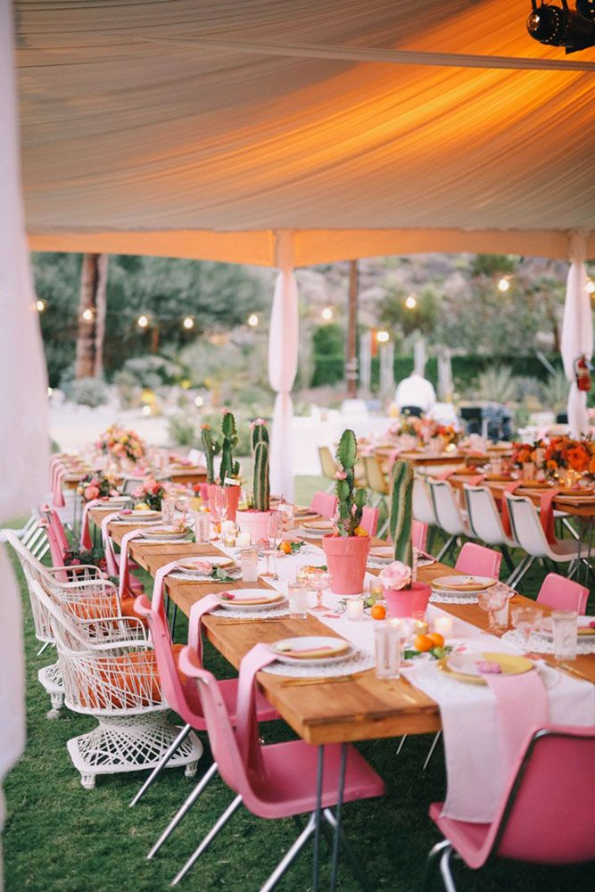 30 Adorable Wedding Reception Decorations ❤ wedding reception decorations under a white awning light brown wooden table bright pink chairs and cacti on the table gideonphoto via instagram ❤ See more: http://www.weddingforward.com/wedding-reception-decorations/ #weddingforward #wedding #bride #decor #weddingdecor #bridaldecorations #weddingdecorations #weddingreceptiondecorations