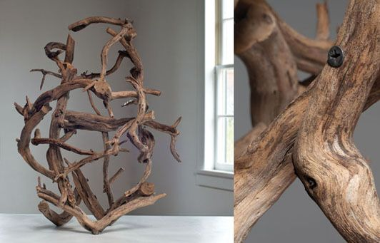 """115L Dry Land Drifter, dead tree, bullets for building, 32"""" x 22"""" 22"""", 2010,"""