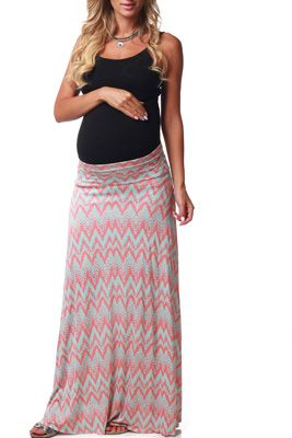 Coral Mint Chevron Print Maternity Maxi Skirt…even though it's maternity…I love the colors and print of the skirt!!!