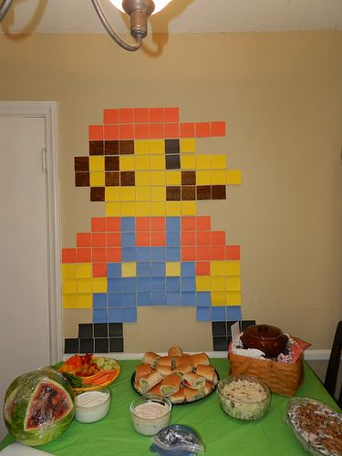 Bio Girl: Henry's Nintendo Land Birthday Party! NintendoLand 8 bit Mario out of post it notes