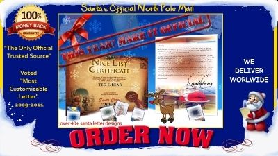 Surprise your dear ones with the letter from SANTA!!! Hohoho http://www.santasofficialnorthpolemail.com/share.php?xyz=335