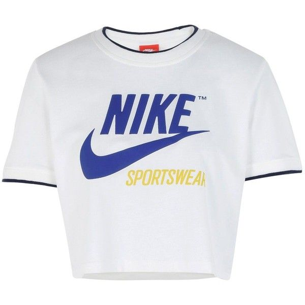 Nike T-shirt (1 085 UAH) ❤ liked on Polyvore featuring tops, t-shirts, ivory, print t shirts, cotton tees, jersey tee, cotton t shirts and short sleeve tee