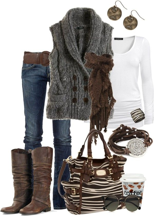 Jeans,white long sleeve,grey sweater vest, brown boots and belt. love the bracelet as well. would look even more awesome with a pop of color for the bag...