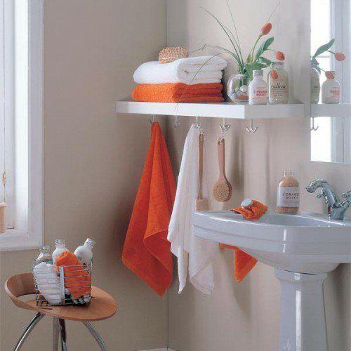 Aufbewahrung Und Ordnung Im Badezimmer   Orange Und Weiß